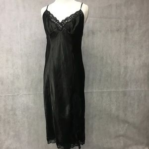Nightgown Medium  Lace Long Black ..